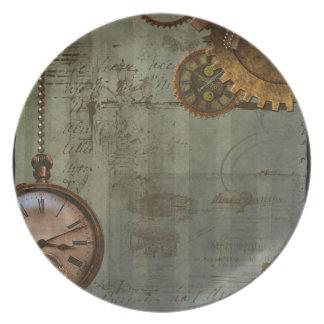 Máquina de tiempo de Steampunk Plato De Cena