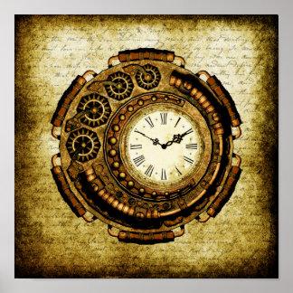 Máquina de tiempo de Steampunk Póster