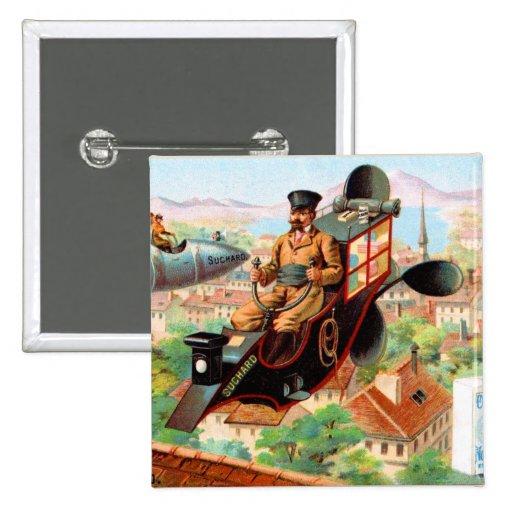 Máquina de vuelo de Steampunk del chocolate Pin Cuadrado