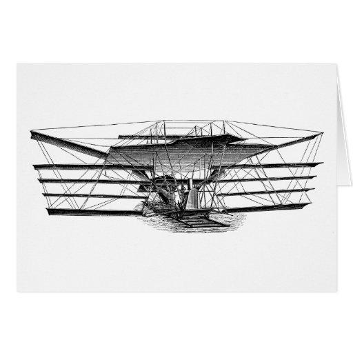 Máquina de vuelo del ala del vintage cuatro felicitacion