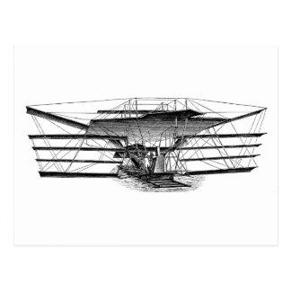 Máquina de vuelo del ala del vintage cuatro tarjeta postal