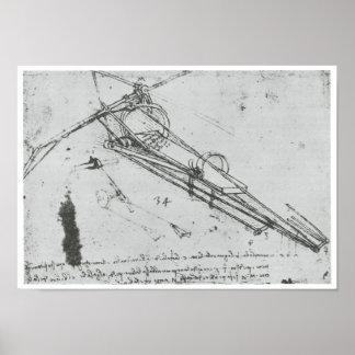 Máquina de vuelo, Leonardo da Vinci, 1490 Póster