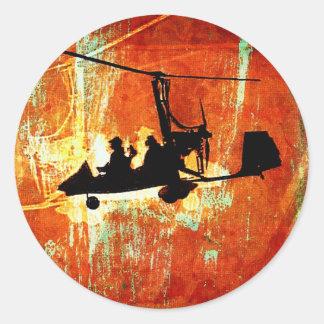 Máquina de vuelo pegatina redonda