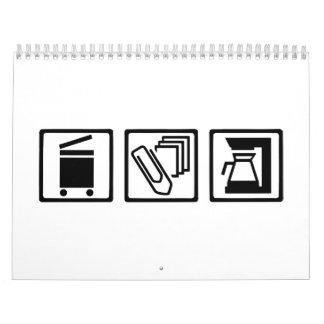 Máquina del café del clip de papel de la copiadora calendario