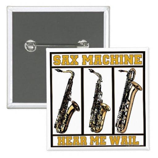 Máquina del saxofón pin cuadrada 5 cm
