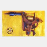Máquina del tatuaje del vintage (amarillo) pegatina rectangular