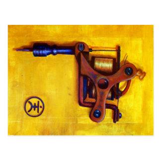 Máquina del tatuaje del vintage (amarillo) postal