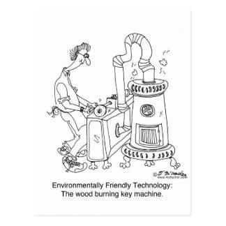 Máquina dominante ardiente de madera tarjetas postales