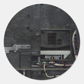Máquina electrónica interior pegatina redonda