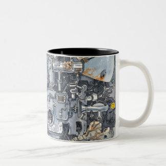 máquina loca taza de café de dos colores