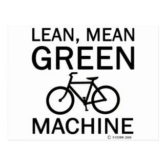 Máquina magra del medio del verde tarjetas postales