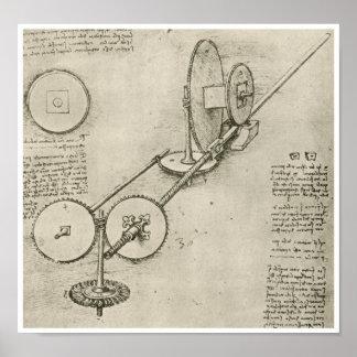 Máquina para formar el hierro Roces, da Vinci Póster