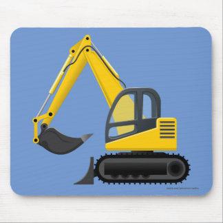 Máquina pesada del excavador amarillo para los alfombrillas de ratón