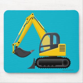Máquina pesada del excavador amarillo para los mouse pads