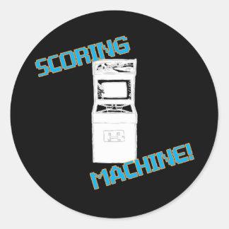 Máquina que anota pegatina redonda