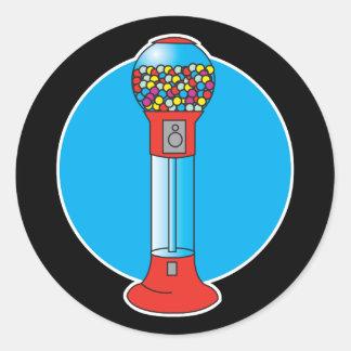 máquina retra del gumball etiqueta redonda