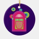 Máquina tocadiscos de neón ornamento para arbol de navidad
