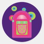 Máquina tocadiscos de neón pegatina redonda