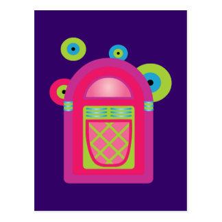 Máquina tocadiscos de neón postales