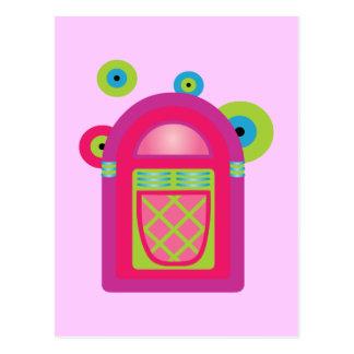 Máquina tocadiscos de neón tarjeta postal