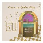 Máquina tocadiscos de oro de los Oldies Invitación Personalizada