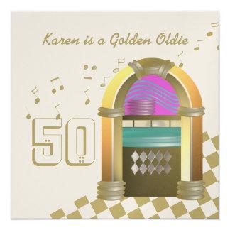 """Máquina tocadiscos de oro de los Oldies Invitación 5.25"""" X 5.25"""""""