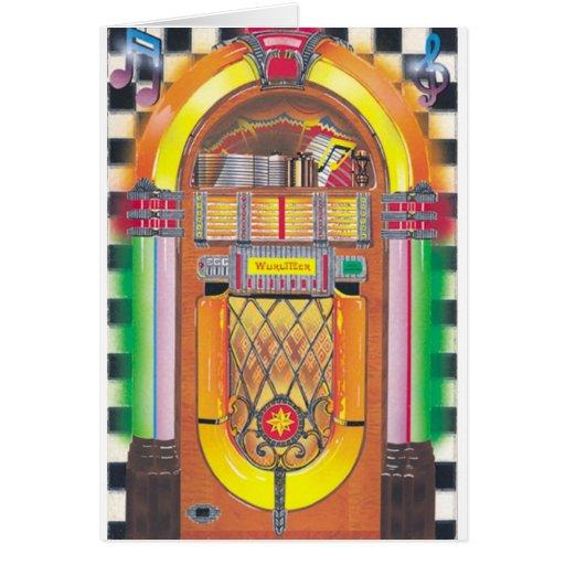 Máquina tocadiscos de Rockin Felicitacion