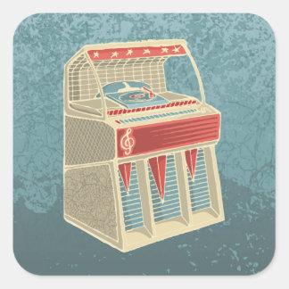 Máquina tocadiscos del Grunge Pegatina Cuadrada