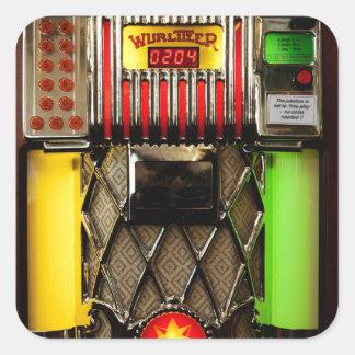 Máquina tocadiscos del vintage pegatina cuadrada