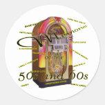 Máquina tocadiscos fabulosa de los años 50 etiquetas redondas