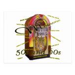 Máquina tocadiscos fabulosa de los años 50 tarjetas postales