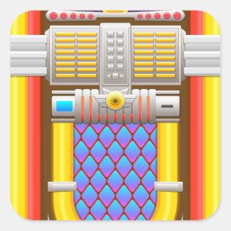 máquina tocadiscos pasada de moda 50s pegatina cuadrada