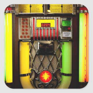 Máquina tocadiscos pegatina cuadrada