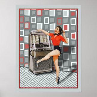 Máquina tocadiscos retra 50s que baila al chica póster