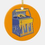 Máquina tocadiscos retra adorno navideño redondo de cerámica
