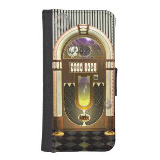Máquina tocadiscos retra de la música personalizad carteras para teléfono