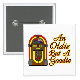 Máquina tocadiscos un Oldie pero un Goodie Pin Cuadrada 5 Cm