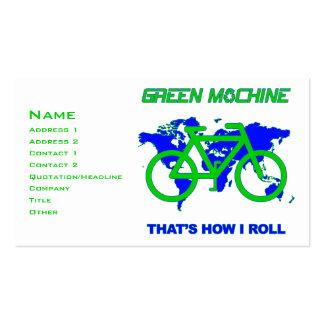 Máquina verde plantillas de tarjetas personales