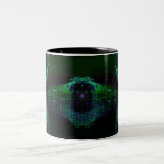 Máquina verde taza dos tonos