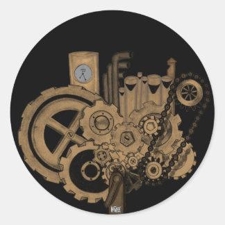 Maquinaria de Steampunk (de latón) Pegatina Redonda