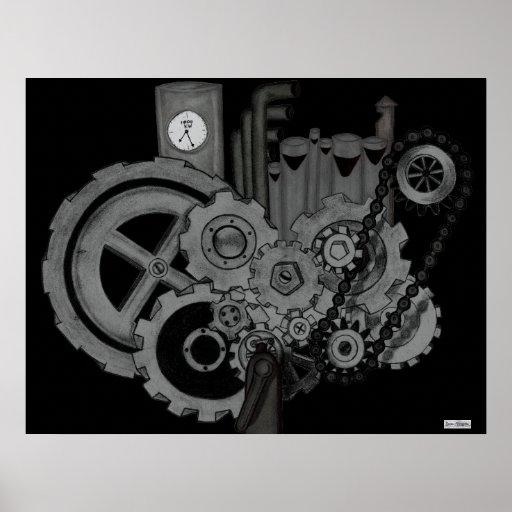 Maquinaria de Steampunk (monocromática) Impresiones