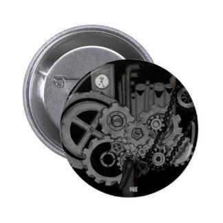 Maquinaria de Steampunk (monocromática) Pin Redondo De 2 Pulgadas