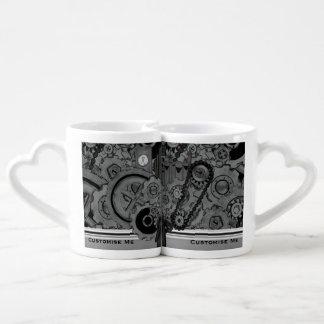 Maquinaria de Steampunk (monocromática) Set De Tazas De Café