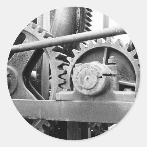 Maquinaria del vintage pegatina redonda