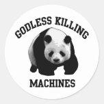 Máquinas ateas de la matanza pegatina redonda