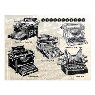 Máquinas de escribir del vintage - ejemplos postales