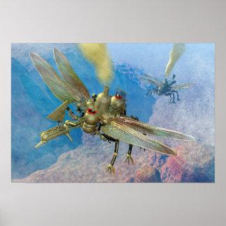 Máquinas de vuelo de Steampunk Póster