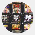 Máquinas ideales de las ranuras de Las Vegas Pegatinas Redondas