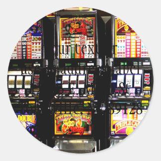 Máquinas ideales de las ranuras de Las Vegas Pegatina Redonda