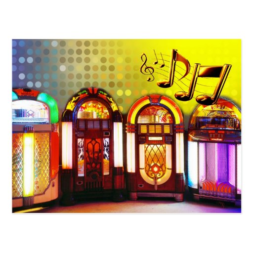 Máquinas tocadiscos coloridas postal